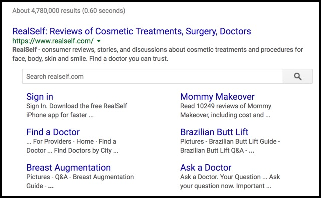 adding sub links sitelinks to results in google search cosmetic