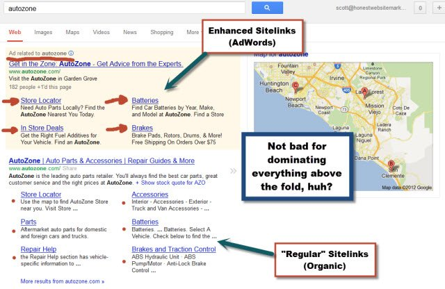 enhanced sitelinks example