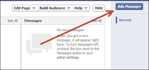 facebook ads manager entry sample screen